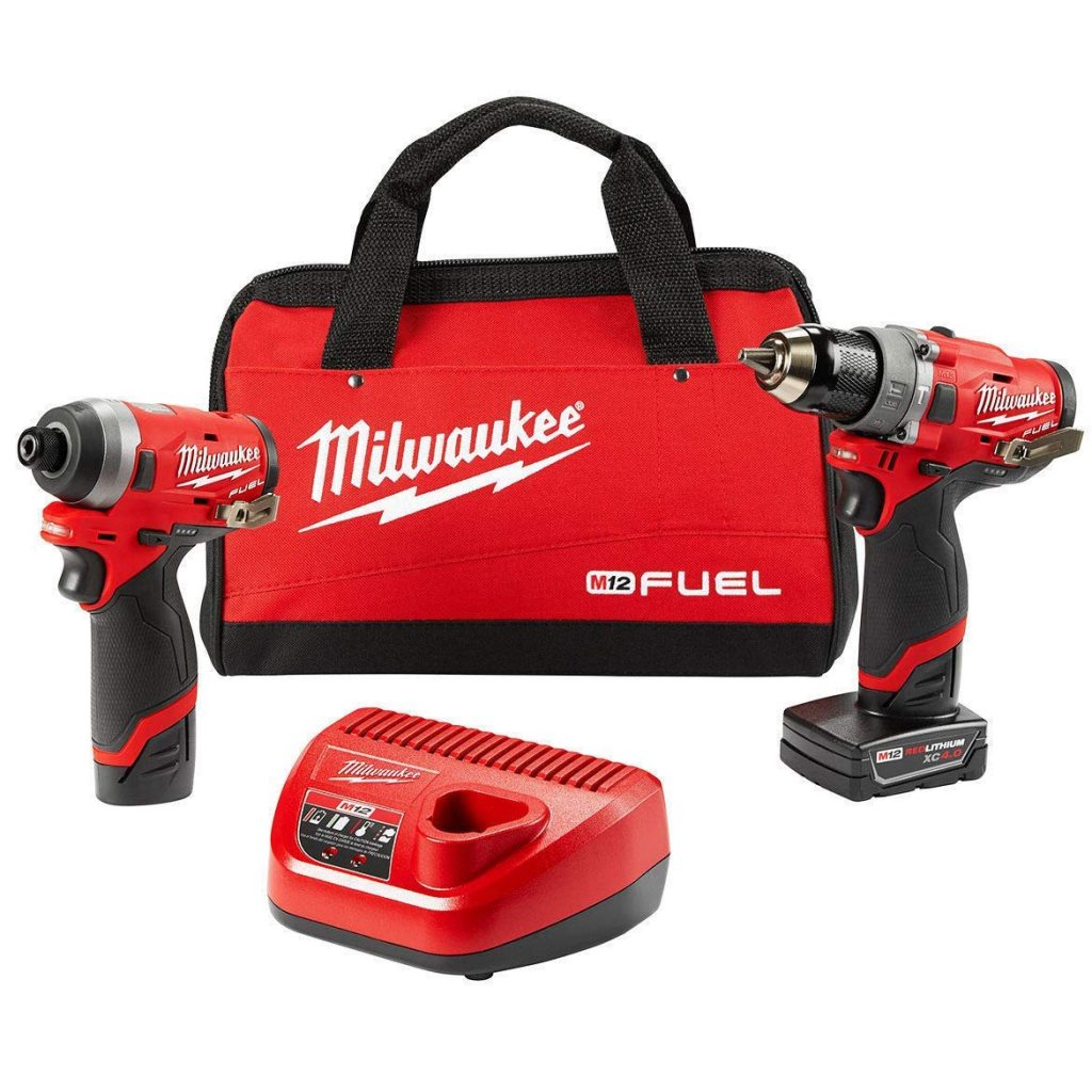 Milwaukee-Electric-Tools-2598-22-M12-Fuel-2-Pc-Kit-1222-Hammer-Drill-1422-Impact