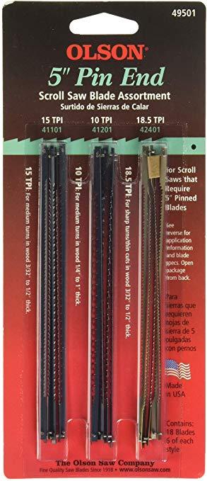 OLSON SAW FR49501 Pin End Scroll Saw Blade