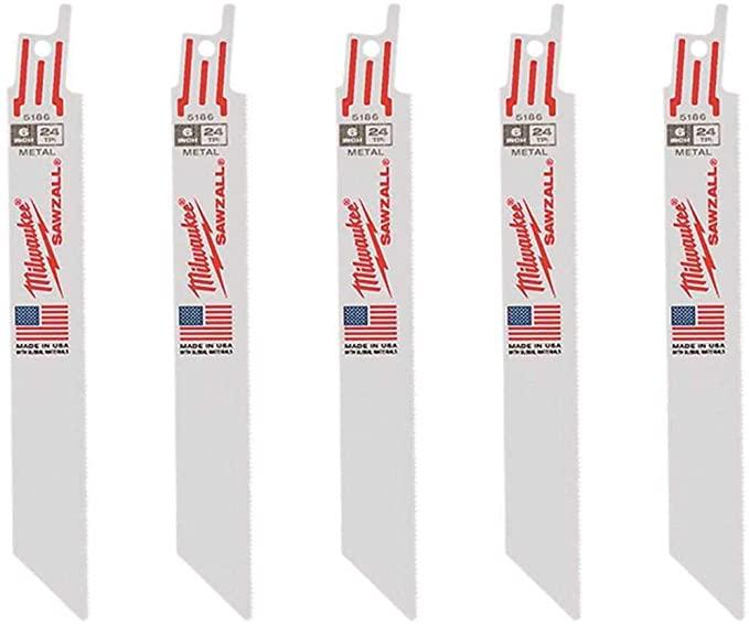 Milwaukee 6 Inch 24-TPI Sawzall Blade (5 Pack)