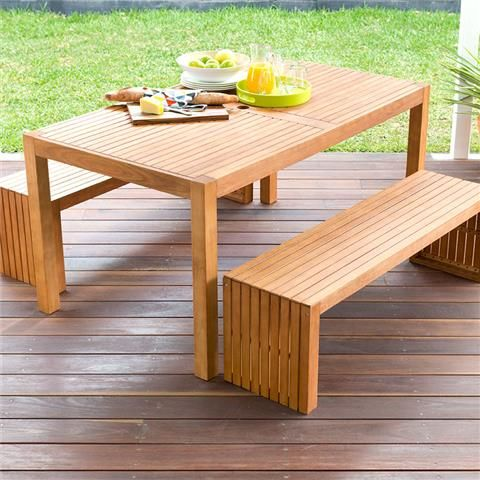 wooden bench and table
