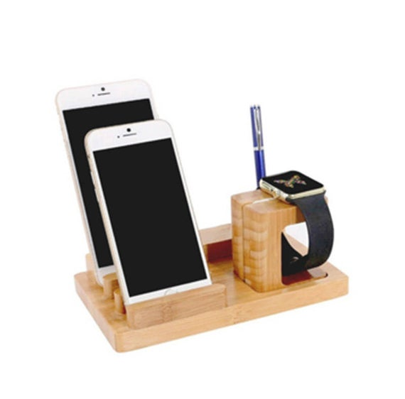 wooden cell phone charging station